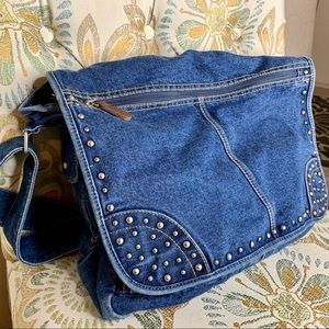 Denim Studded Large Crossbody Messenger Bag